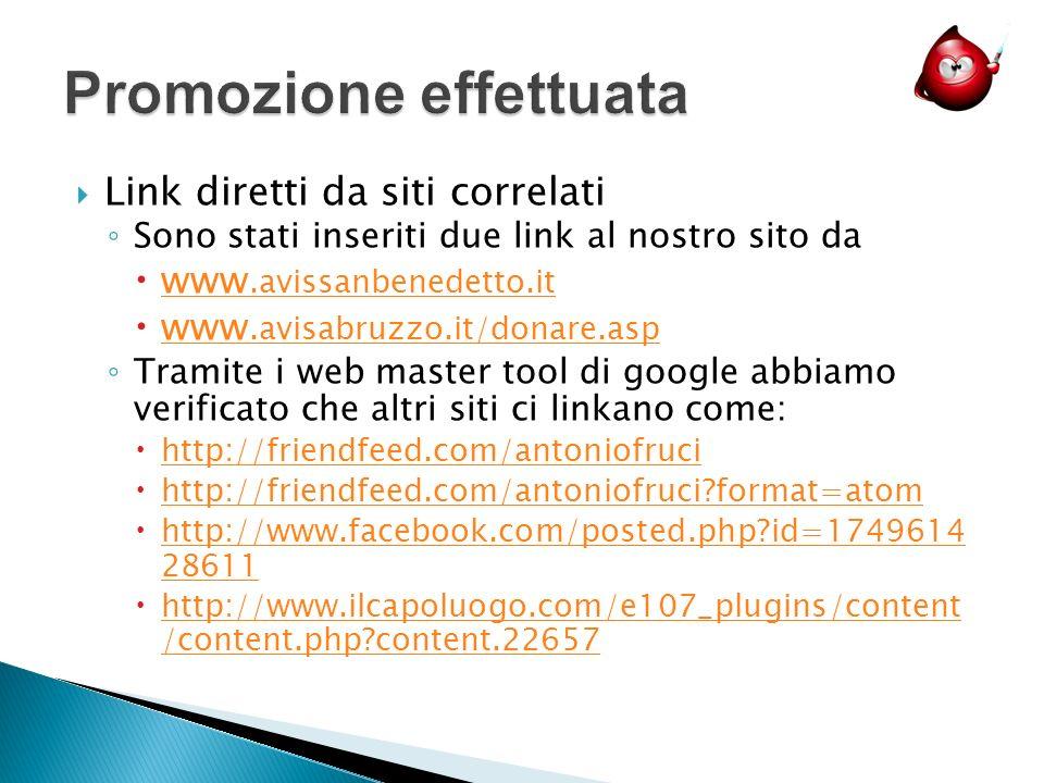 Link diretti da siti correlati Sono stati inseriti due link al nostro sito da www.avissanbenedetto.it www.avissanbenedetto.it www.avisabruzzo.it/donare.asp www.avisabruzzo.it/donare.asp Tramite i web master tool di google abbiamo verificato che altri siti ci linkano come: http://friendfeed.com/antoniofruci http://friendfeed.com/antoniofruci format=atom http://www.facebook.com/posted.php id=1749614 28611 http://www.facebook.com/posted.php id=1749614 28611 http://www.ilcapoluogo.com/e107_plugins/content /content.php content.22657 http://www.ilcapoluogo.com/e107_plugins/content /content.php content.22657