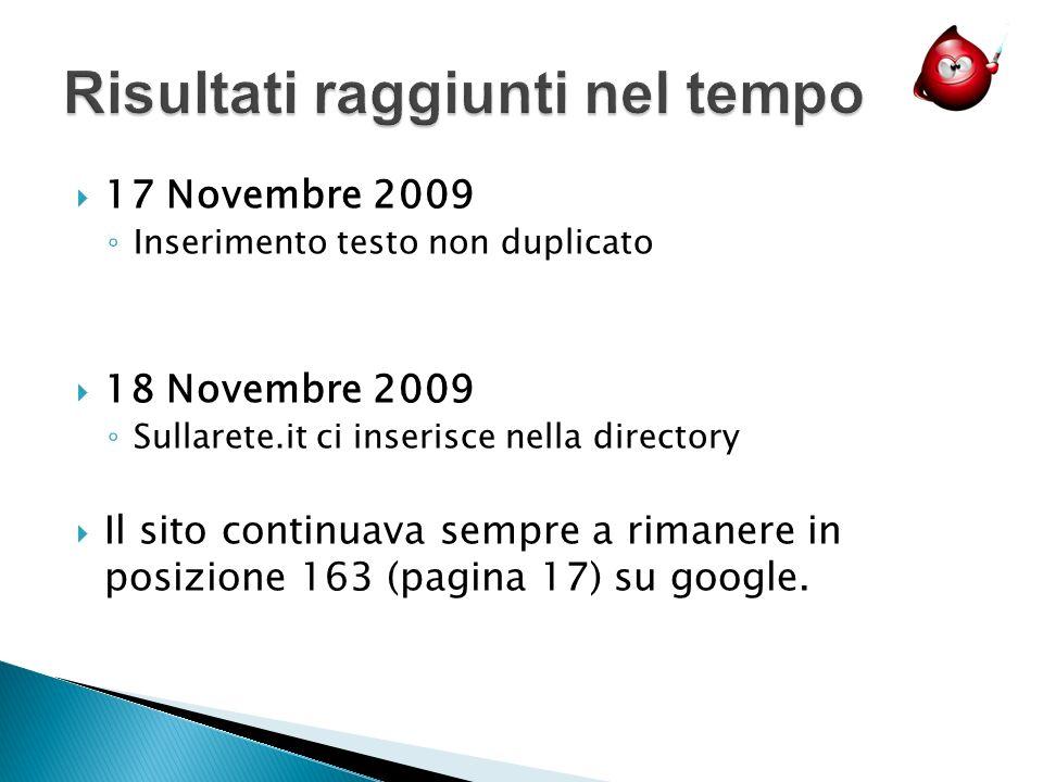 17 Novembre 2009 Inserimento testo non duplicato 18 Novembre 2009 Sullarete.it ci inserisce nella directory Il sito continuava sempre a rimanere in posizione 163 (pagina 17) su google.
