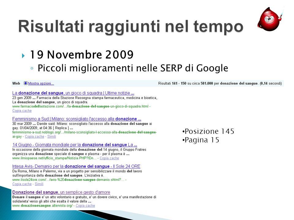 19 Novembre 2009 Piccoli miglioramenti nelle SERP di Google Posizione 145 Pagina 15