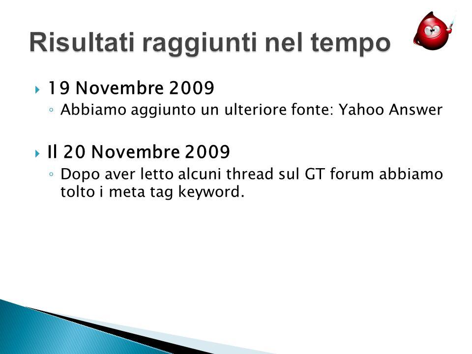 19 Novembre 2009 Abbiamo aggiunto un ulteriore fonte: Yahoo Answer Il 20 Novembre 2009 Dopo aver letto alcuni thread sul GT forum abbiamo tolto i meta tag keyword.