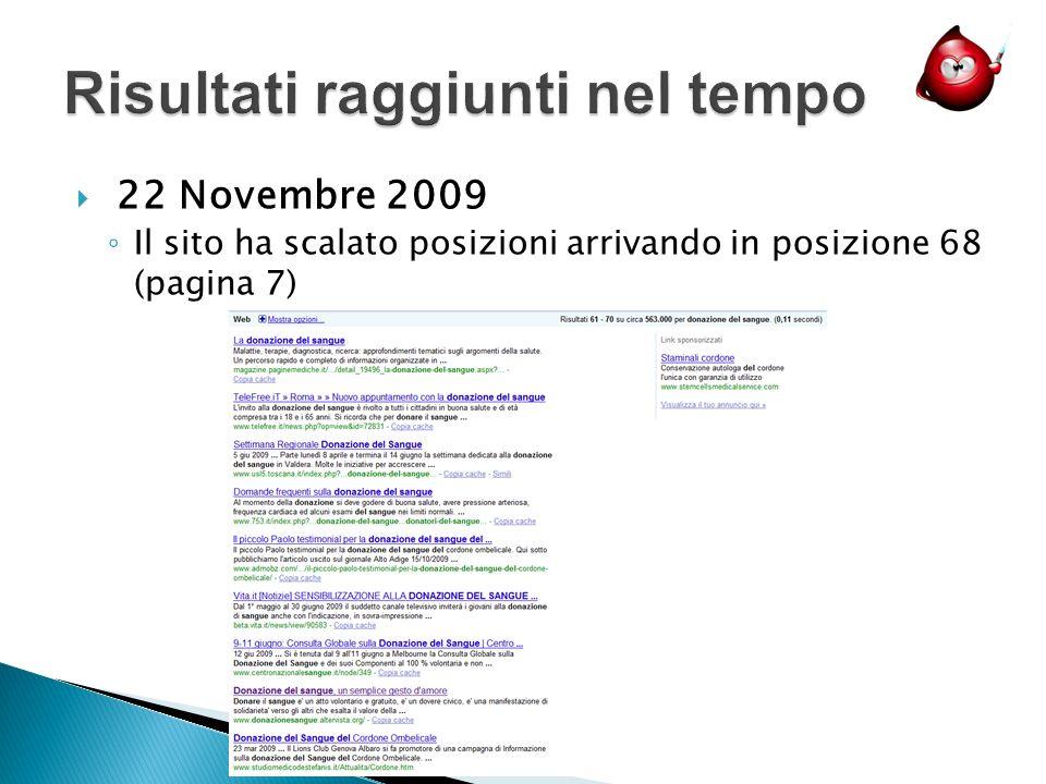 22 Novembre 2009 Il sito ha scalato posizioni arrivando in posizione 68 (pagina 7)