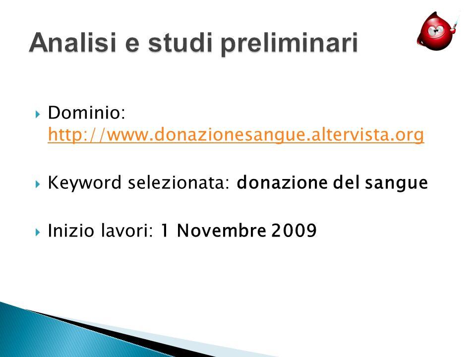 Dominio: http://www.donazionesangue.altervista.org http://www.donazionesangue.altervista.org Keyword selezionata: donazione del sangue Inizio lavori: 1 Novembre 2009