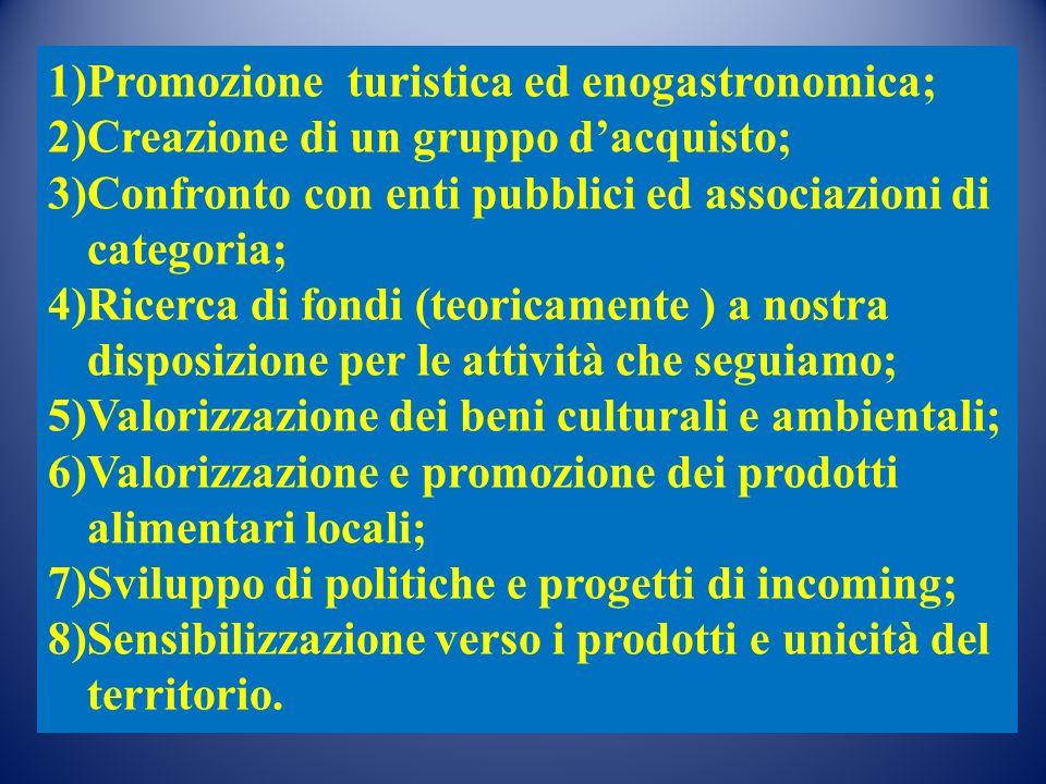 1)Promozione turistica ed enogastronomica; 2)Creazione di un gruppo dacquisto; 3)Confronto con enti pubblici ed associazioni di categoria; 4)Ricerca d