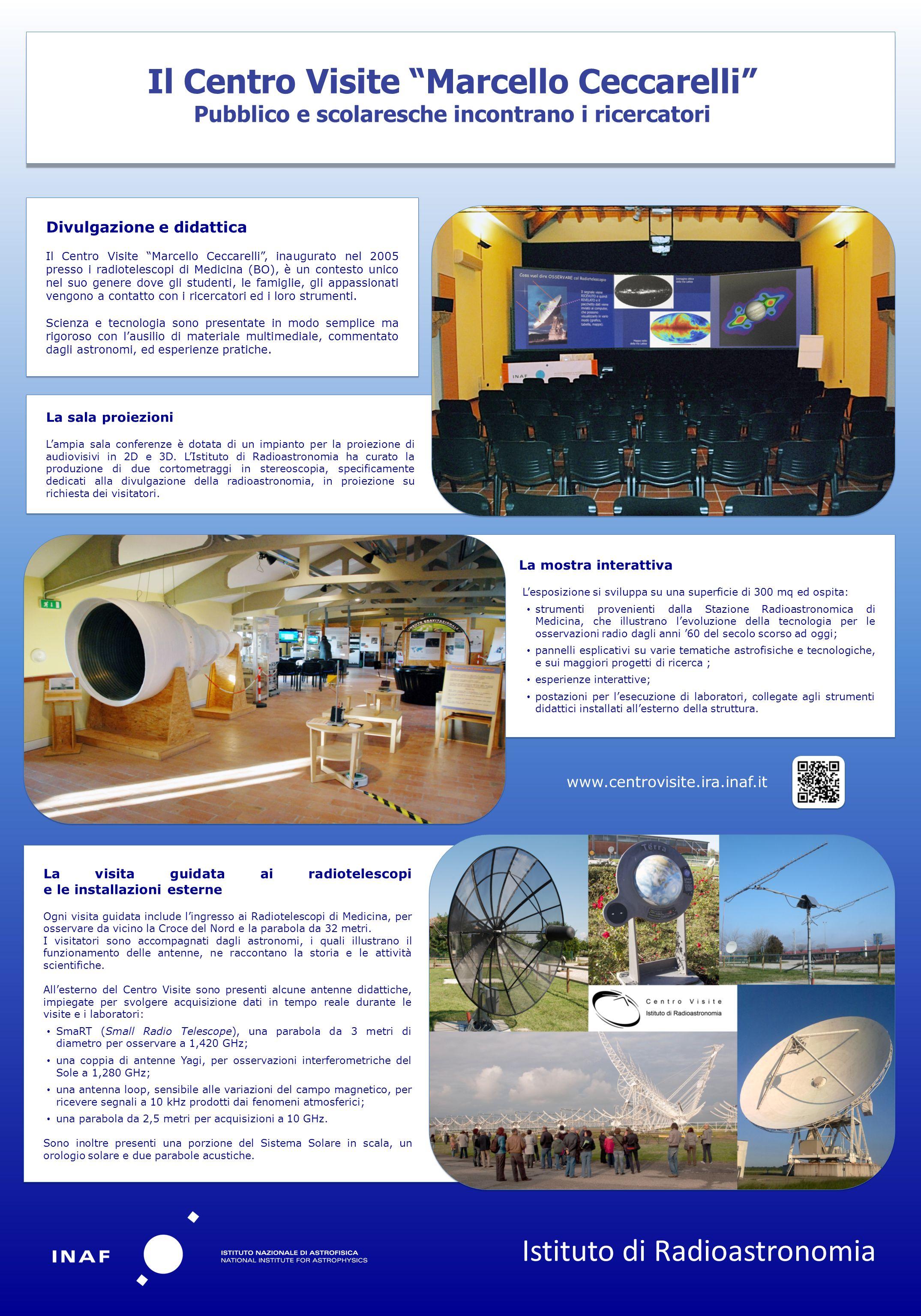 La visita guidata ai radiotelescopi e le installazioni esterne Ogni visita guidata include lingresso ai Radiotelescopi di Medicina, per osservare da v