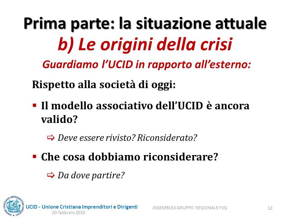 UCID - Unione Cristiana Imprenditori e Dirigenti Prima parte: la situazione attuale b) Le origini della crisi Guardiamo lUCID in rapporto allesterno: