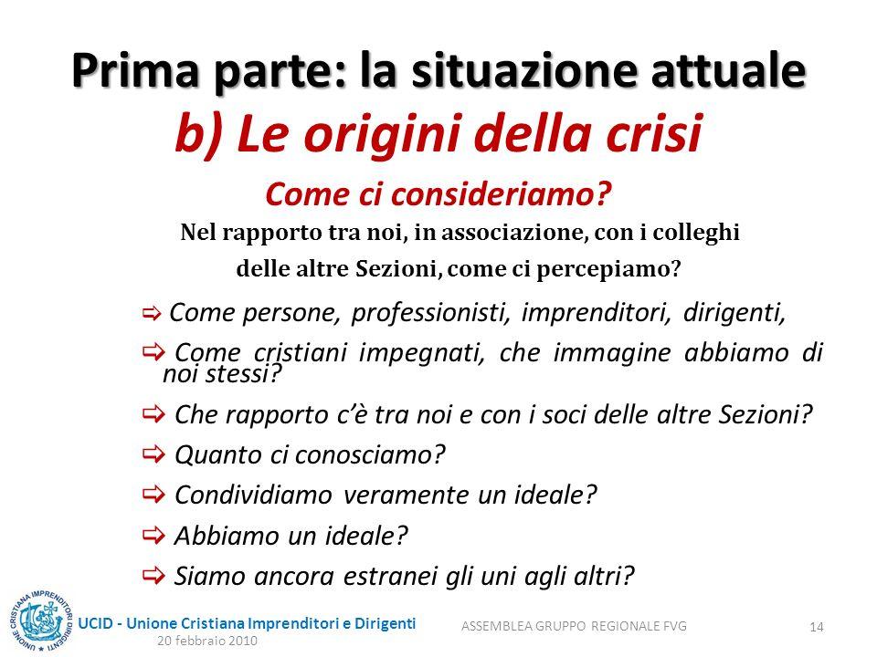 UCID - Unione Cristiana Imprenditori e Dirigenti Prima parte: la situazione attuale b) Le origini della crisi Come ci consideriamo.