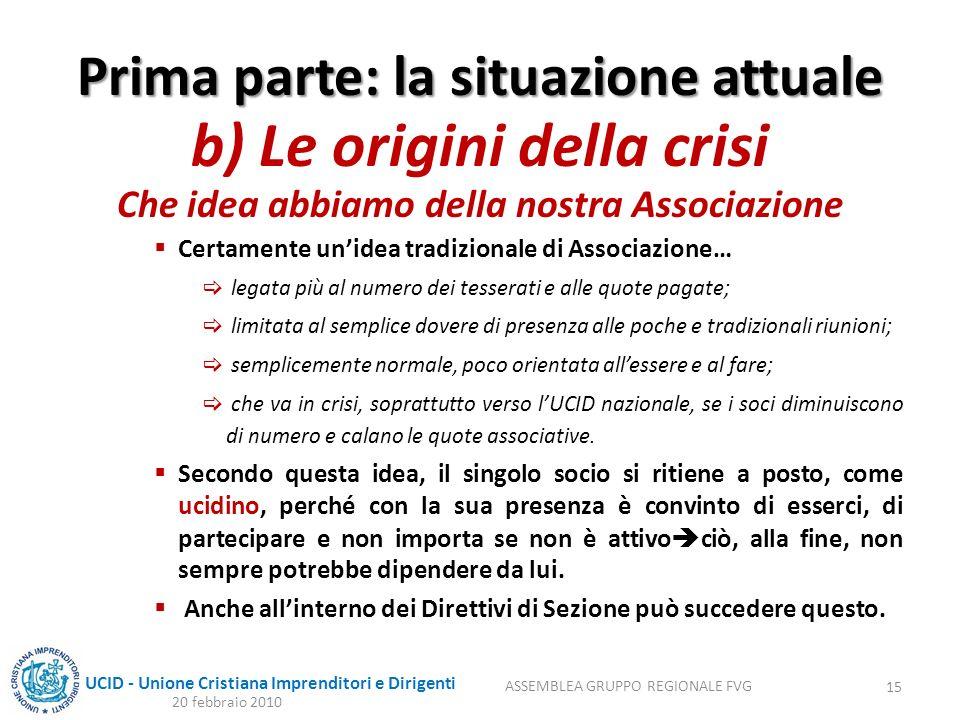 UCID - Unione Cristiana Imprenditori e Dirigenti Prima parte: la situazione attuale b) Le origini della crisi Che idea abbiamo della nostra Associazio