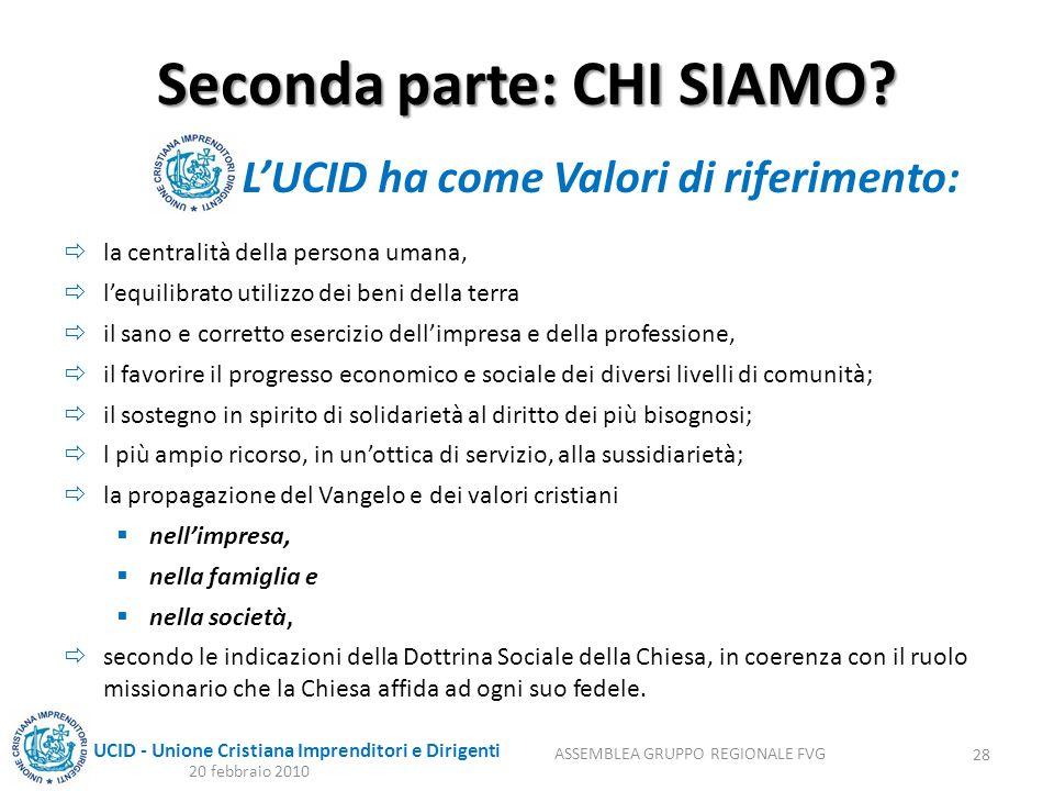 UCID - Unione Cristiana Imprenditori e Dirigenti Seconda parte: CHI SIAMO? la centralità della persona umana, lequilibrato utilizzo dei beni della ter