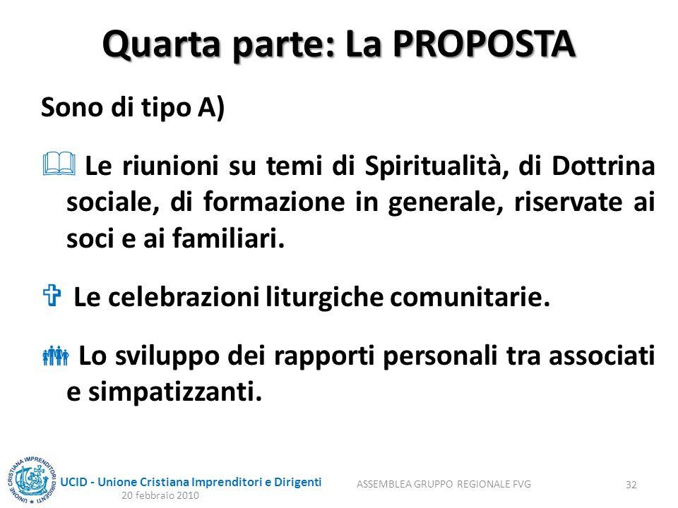 UCID - Unione Cristiana Imprenditori e Dirigenti Quarta parte: La PROPOSTA Sono di tipo A) Le riunioni su temi di Spiritualità, di Dottrina sociale, d