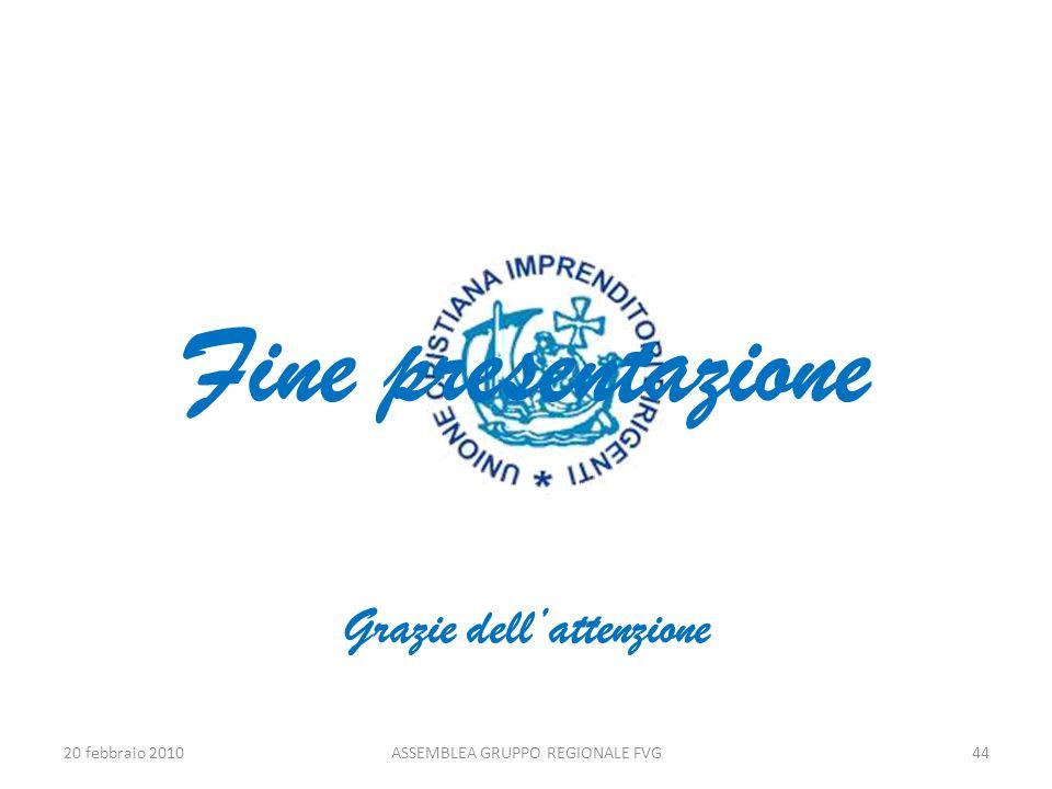 Fine presentazione Grazie dellattenzione 20 febbraio 2010ASSEMBLEA GRUPPO REGIONALE FVG44