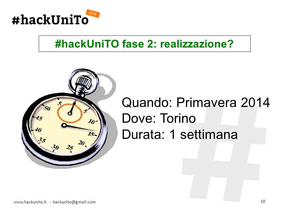 www.hackunito.it - hackunito@gmail.com 10 Quando: Primavera 2014 Dove: Torino Durata: 1 settimana #hackUniTO fase 2: realizzazione?
