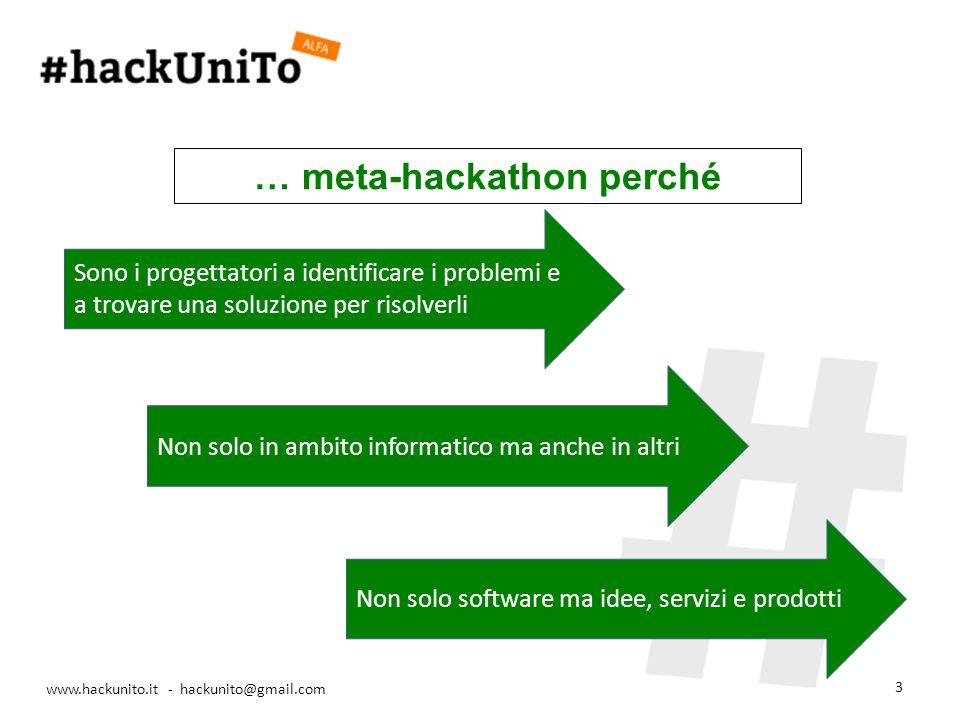 www.hackunito.it - hackunito@gmail.com 3 Sono i progettatori a identificare i problemi e a trovare una soluzione per risolverli Non solo in ambito informatico ma anche in altri Non solo software ma idee, servizi e prodotti … meta-hackathon perché