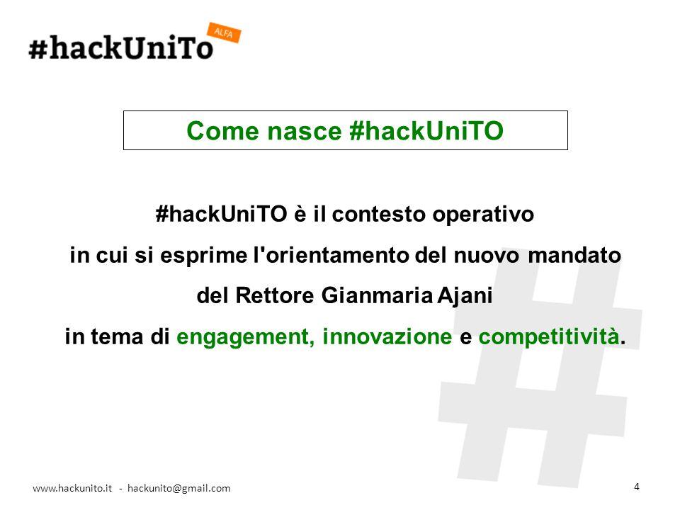 www.hackunito.it - hackunito@gmail.com 4 #hackUniTO è il contesto operativo in cui si esprime l orientamento del nuovo mandato del Rettore Gianmaria Ajani in tema di engagement, innovazione e competitività.