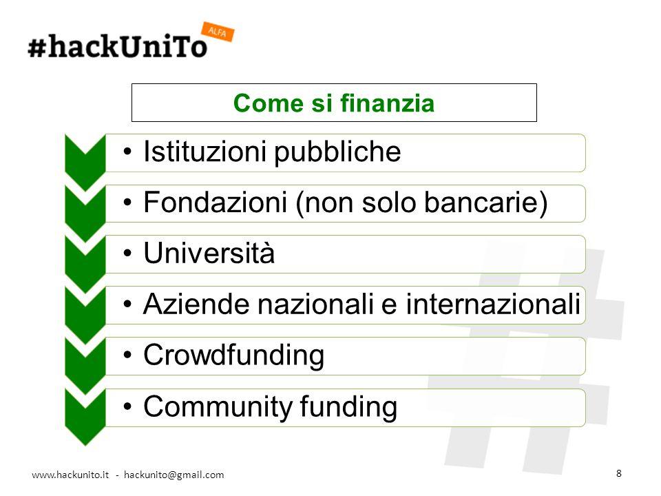 www.hackunito.it - hackunito@gmail.com 8 Istituzioni pubbliche Fondazioni (non solo bancarie) UniversitàAziende nazionali e internazionaliCrowdfundingCommunity funding Come si finanzia
