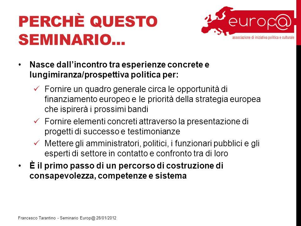 CTE IN ER Francesco Tarantino - Seminario Europ@ 28/01/2012