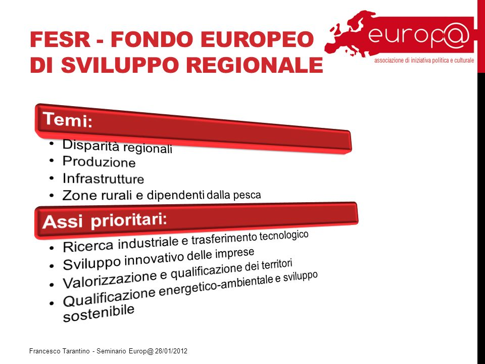 FESR - FONDO EUROPEO DI SVILUPPO REGIONALE Francesco Tarantino - Seminario Europ@ 28/01/2012