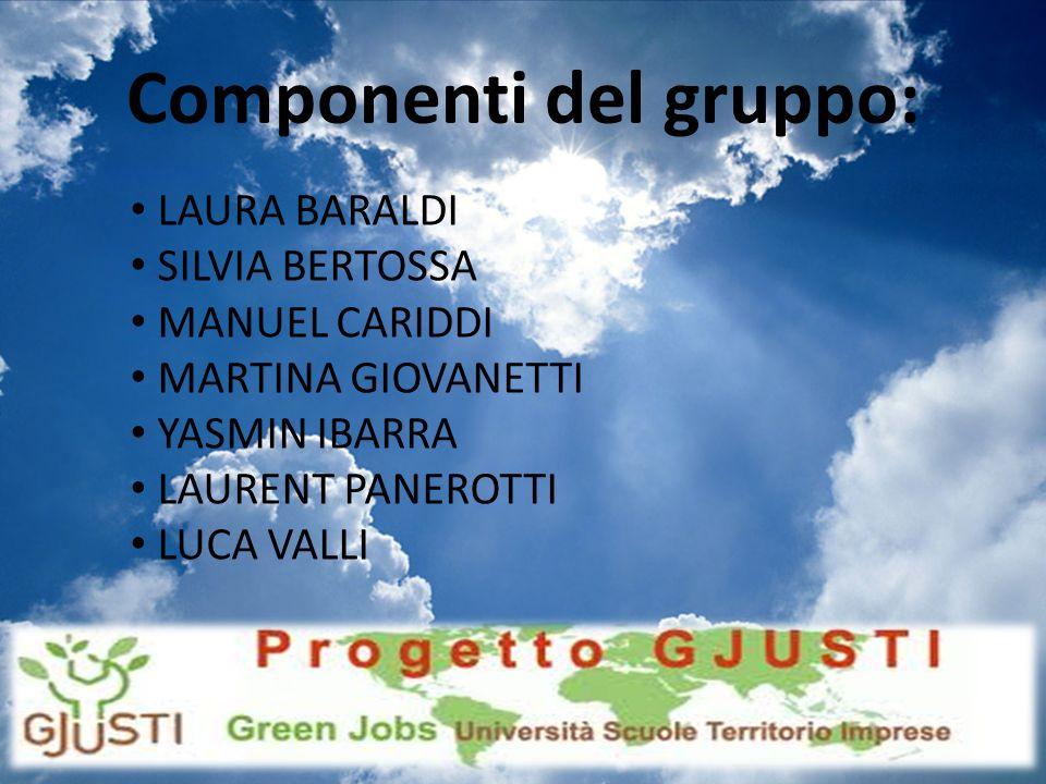 Componenti del gruppo: LAURA BARALDI SILVIA BERTOSSA MANUEL CARIDDI MARTINA GIOVANETTI YASMIN IBARRA LAURENT PANEROTTI LUCA VALLI