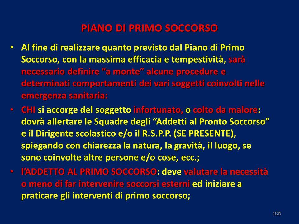 105 PIANO DI PRIMO SOCCORSO sarà necessario definire a monte alcune procedure e determinati comportamenti dei vari soggetti coinvolti nelle emergenza