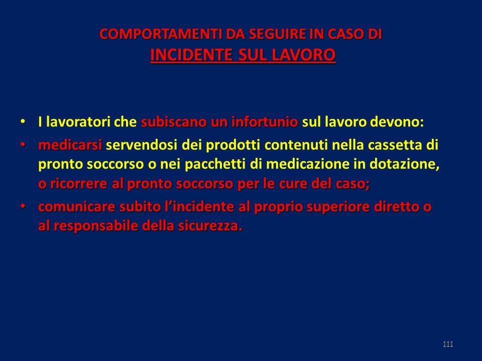 111 COMPORTAMENTI DA SEGUIRE IN CASO DI INCIDENTE SUL LAVORO subiscano un infortunio I lavoratori che subiscano un infortunio sul lavoro devono: medic