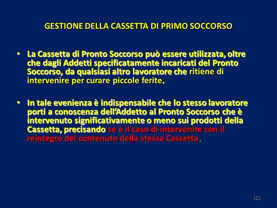 121 GESTIONE DELLA CASSETTA DI PRIMO SOCCORSO La Cassetta di Pronto Soccorso può essere utilizzata, oltre che dagli Addetti specificatamente incaricat