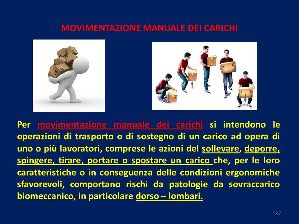 137 MOVIMENTAZIONE MANUALE DEI CARICHI Per movimentazione manuale dei carichi si intendono le operazioni di trasporto o di sostegno di un carico ad op