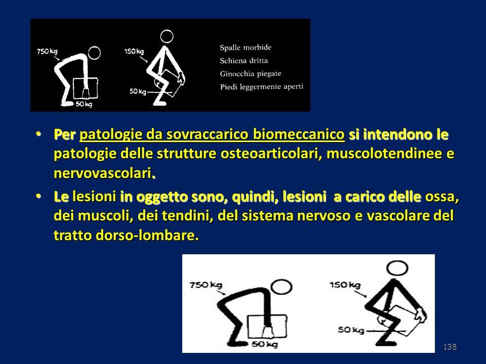 138 Per patologie da sovraccarico biomeccanico si intendono le patologie delle strutture osteoarticolari, muscolotendinee e nervovascolari. Per patolo