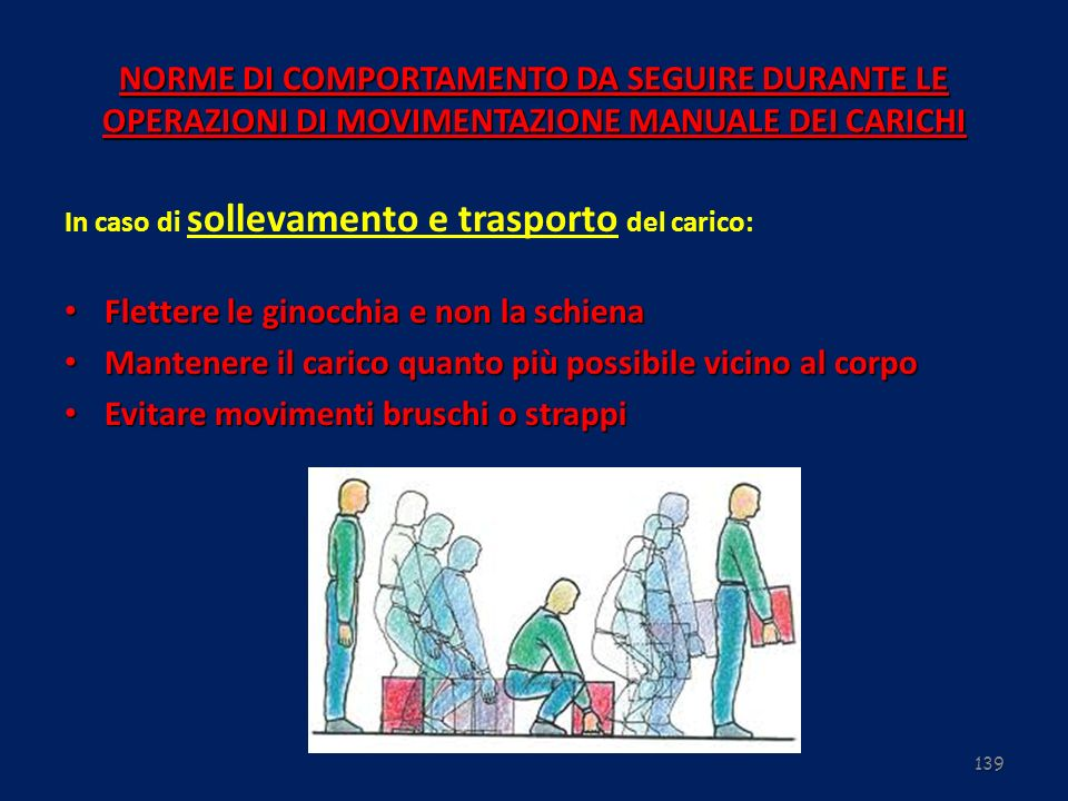 139 NORME DI COMPORTAMENTO DA SEGUIRE DURANTE LE OPERAZIONI DI MOVIMENTAZIONE MANUALE DEI CARICHI In caso di sollevamento e trasporto del carico: Flet