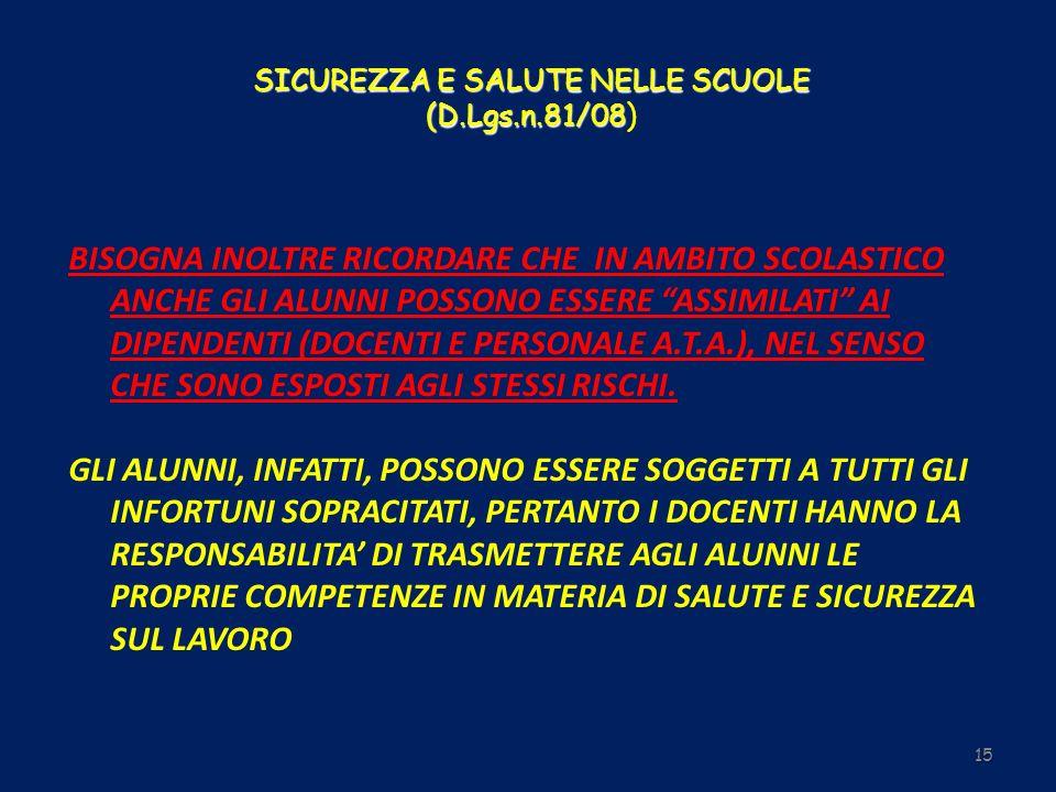 SICUREZZA E SALUTE NELLE SCUOLE (D.Lgs.n.81/08 SICUREZZA E SALUTE NELLE SCUOLE (D.Lgs.n.81/08) BISOGNA INOLTRE RICORDARE CHE IN AMBITO SCOLASTICO ANCH