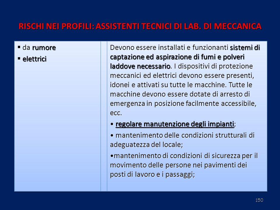 150 RISCHI NEI PROFILI: ASSISTENTI TECNICI DI LAB. DI MECCANICA