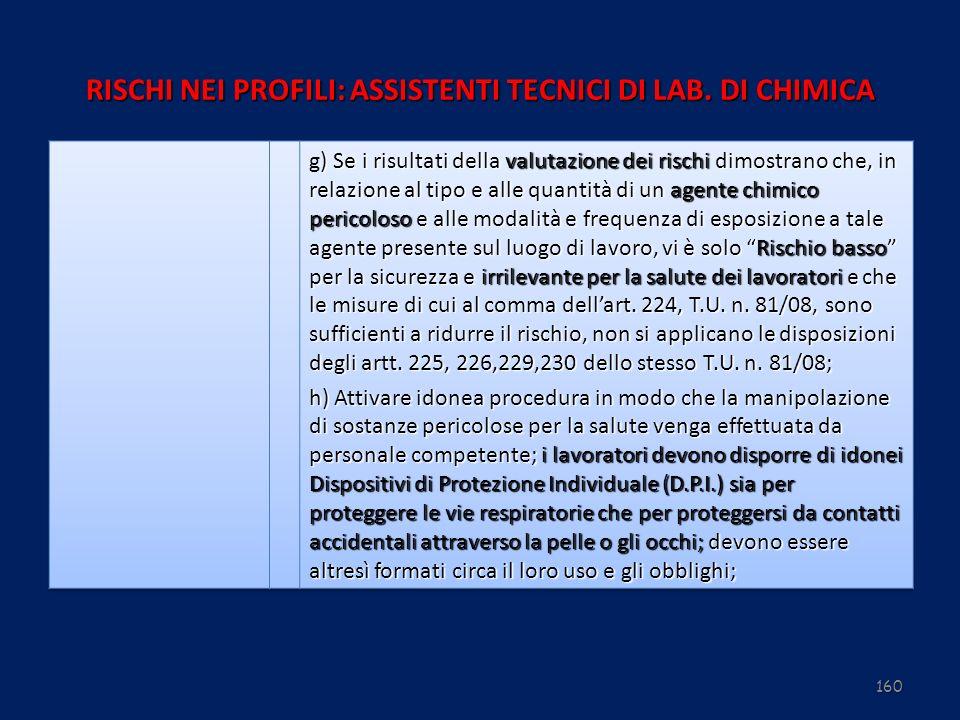 160 RISCHI NEI PROFILI: ASSISTENTI TECNICI DI LAB. DI CHIMICA