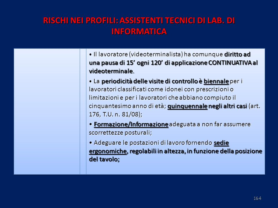 164 RISCHI NEI PROFILI: ASSISTENTI TECNICI DI LAB. DI INFORMATICA