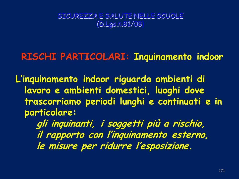 SICUREZZA E SALUTE NELLE SCUOLE (D.Lgs.n.81/08 SICUREZZA E SALUTE NELLE SCUOLE (D.Lgs.n.81/08) RISCHI PARTICOLARI: Inquinamento indoor Linquinamento i