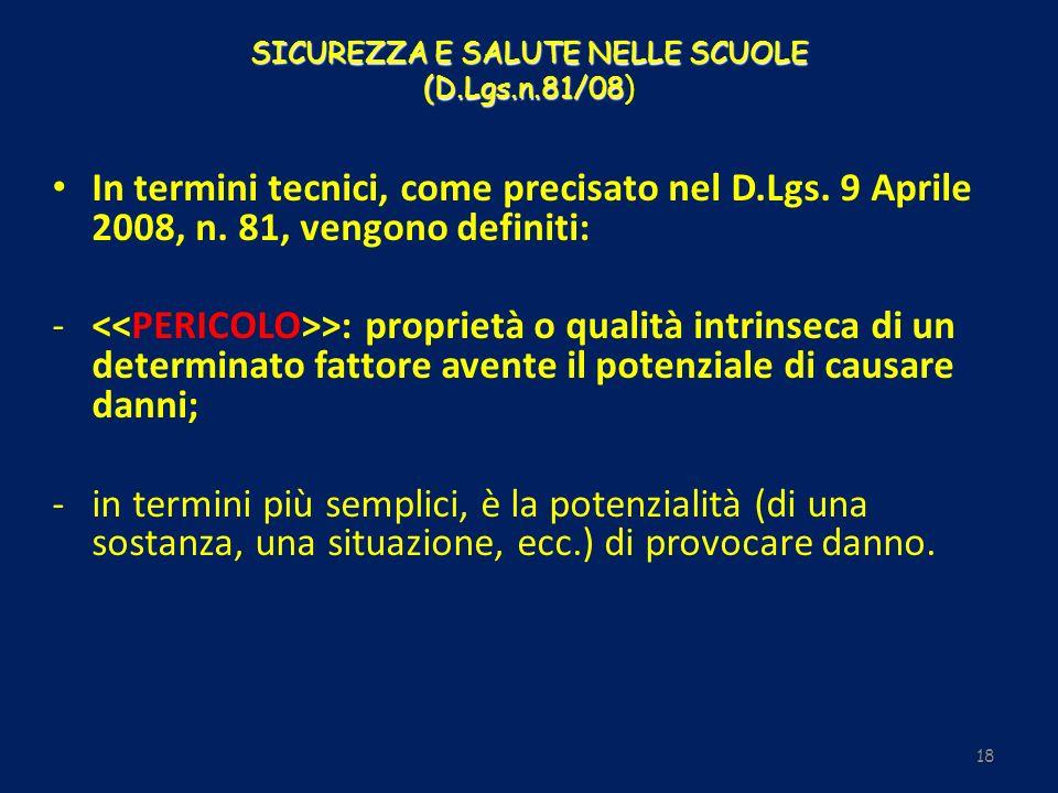 SICUREZZA E SALUTE NELLE SCUOLE (D.Lgs.n.81/08 SICUREZZA E SALUTE NELLE SCUOLE (D.Lgs.n.81/08) 18 In termini tecnici, come precisato nel D.Lgs. 9 Apri