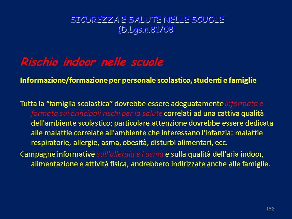SICUREZZA E SALUTE NELLE SCUOLE (D.Lgs.n.81/08 SICUREZZA E SALUTE NELLE SCUOLE (D.Lgs.n.81/08) Rischio indoor nelle scuole. Informazione/formazione pe
