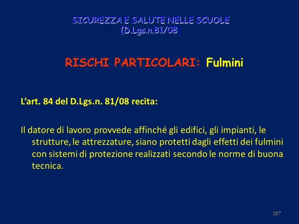 SICUREZZA E SALUTE NELLE SCUOLE (D.Lgs.n.81/08 SICUREZZA E SALUTE NELLE SCUOLE (D.Lgs.n.81/08) RISCHI PARTICOLARI: Fulmini Lart. 84 del D.Lgs.n. 81/08