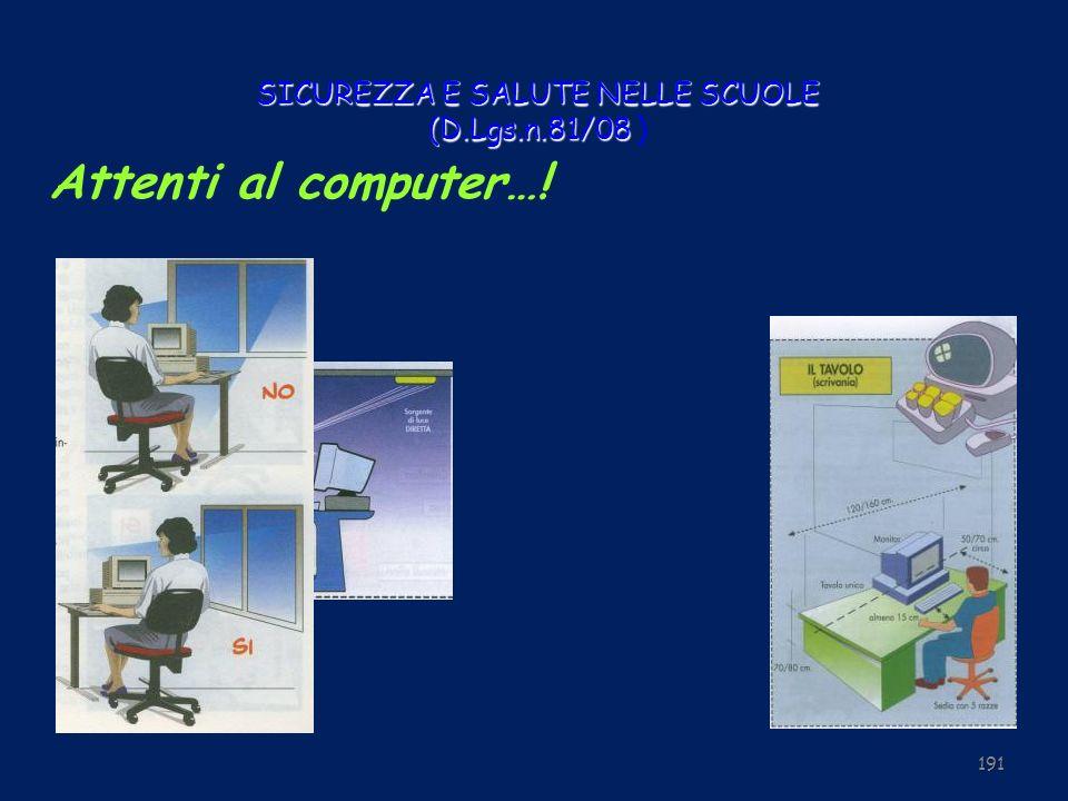SICUREZZA E SALUTE NELLE SCUOLE (D.Lgs.n.81/08 SICUREZZA E SALUTE NELLE SCUOLE (D.Lgs.n.81/08 ) 191 Attenti al computer…!