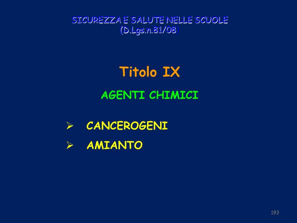 SICUREZZA E SALUTE NELLE SCUOLE (D.Lgs.n.81/08 SICUREZZA E SALUTE NELLE SCUOLE (D.Lgs.n.81/08) Titolo IX AGENTI CHIMICI CANCEROGENI AMIANTO 193