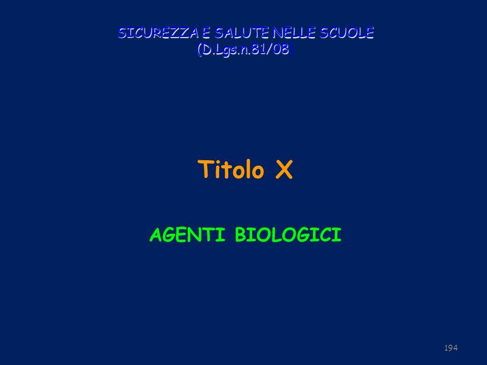 SICUREZZA E SALUTE NELLE SCUOLE (D.Lgs.n.81/08 SICUREZZA E SALUTE NELLE SCUOLE (D.Lgs.n.81/08) Titolo X AGENTI BIOLOGICI 194