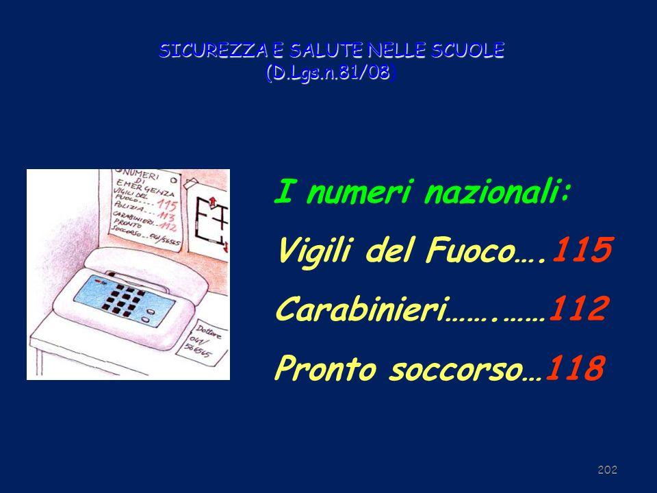 SICUREZZA E SALUTE NELLE SCUOLE (D.Lgs.n.81/08 SICUREZZA E SALUTE NELLE SCUOLE (D.Lgs.n.81/08) 202 I numeri nazionali: Vigili del Fuoco….115 Carabinie