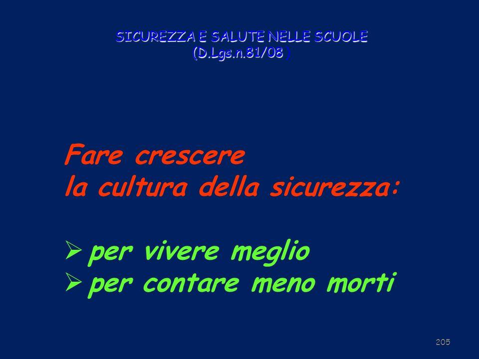 SICUREZZA E SALUTE NELLE SCUOLE (D.Lgs.n.81/08 SICUREZZA E SALUTE NELLE SCUOLE (D.Lgs.n.81/08 ) 205 Fare crescere la cultura della sicurezza: per vive