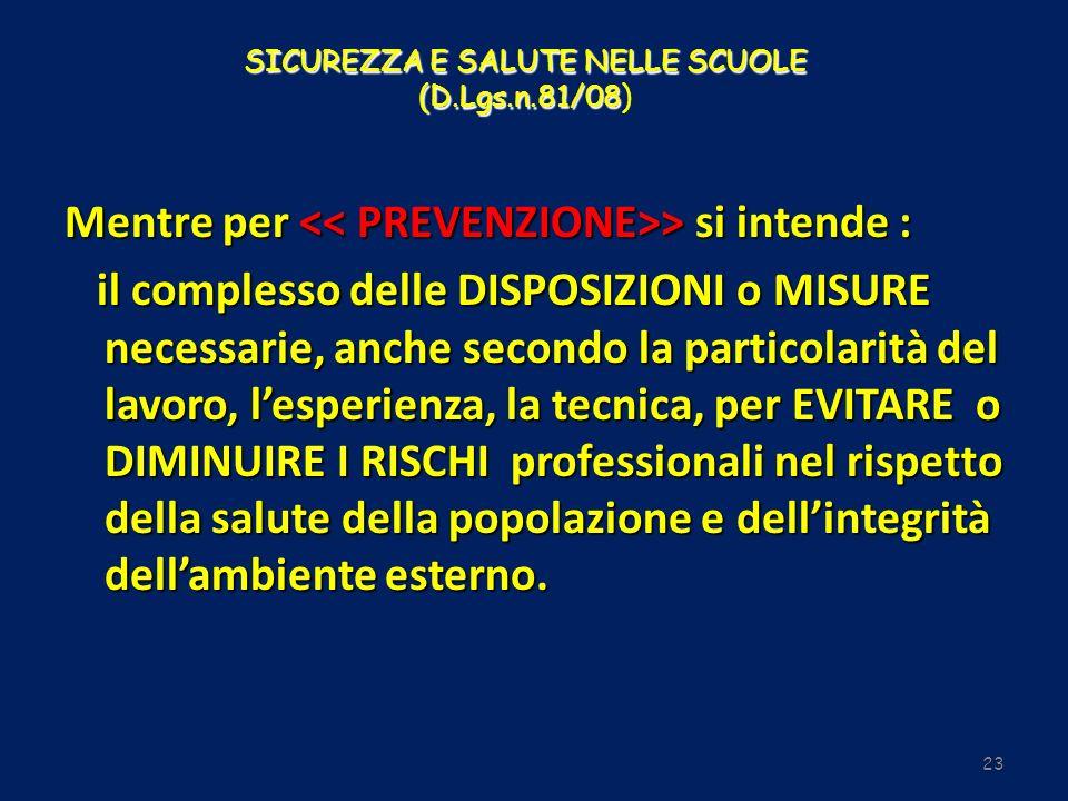 SICUREZZA E SALUTE NELLE SCUOLE (D.Lgs.n.81/08 SICUREZZA E SALUTE NELLE SCUOLE (D.Lgs.n.81/08) 23 Mentre per > si intende : il complesso delle DISPOSI