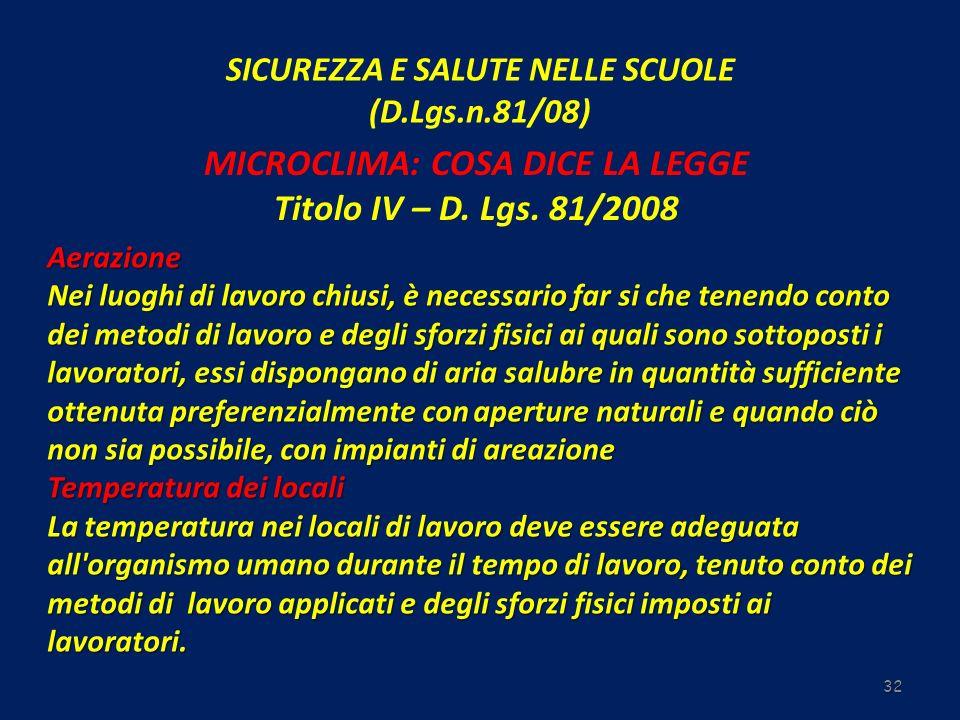 SICUREZZA E SALUTE NELLE SCUOLE (D.Lgs.n.81/08) 32 MICROCLIMA: COSA DICE LA LEGGE Titolo IV – D. Lgs. 81/2008 Aerazione Nei luoghi di lavoro chiusi, è