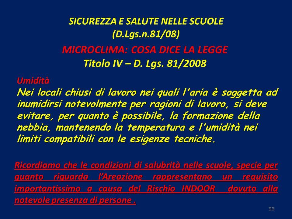 SICUREZZA E SALUTE NELLE SCUOLE (D.Lgs.n.81/08) 33 MICROCLIMA: COSA DICE LA LEGGE Titolo IV – D. Lgs. 81/2008 Umidità Nei locali chiusi di lavoro nei