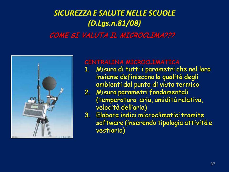 SICUREZZA E SALUTE NELLE SCUOLE (D.Lgs.n.81/08) 37 COME SI VALUTA IL MICROCLIMA??? CENTRALINA MICROCLIMATICA 1.Misura di tutti i parametri che nel lor