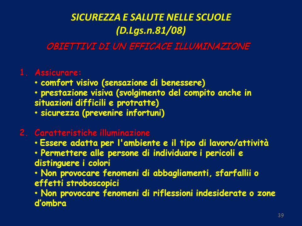SICUREZZA E SALUTE NELLE SCUOLE (D.Lgs.n.81/08) 39 OBIETTIVI DI UN EFFICACE ILLUMINAZIONE 1. 1.Assicurare: comfort visivo (sensazione di benessere) pr