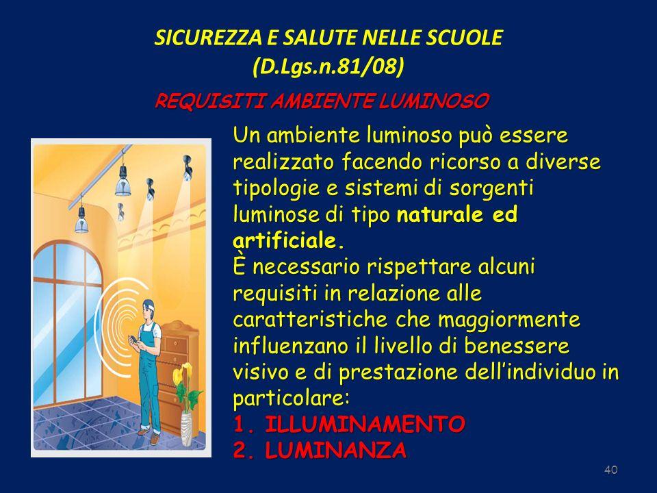 SICUREZZA E SALUTE NELLE SCUOLE (D.Lgs.n.81/08) 40 REQUISITI AMBIENTE LUMINOSO Un ambiente luminoso può essere realizzato facendo ricorso a diverse ti