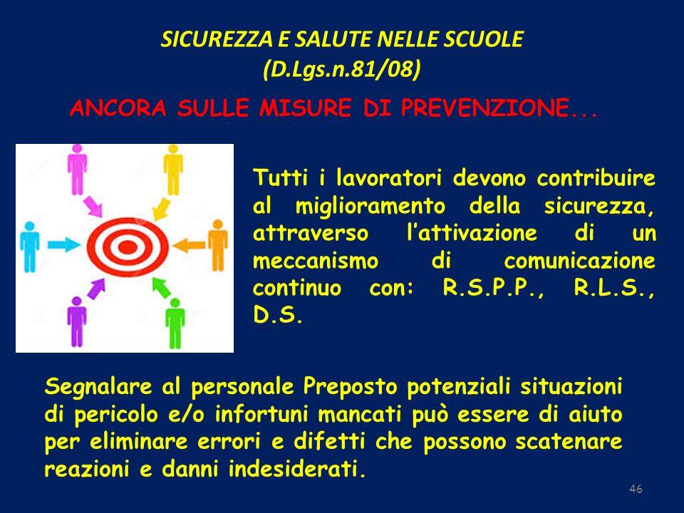 SICUREZZA E SALUTE NELLE SCUOLE (D.Lgs.n.81/08) 46 ANCORA SULLE MISURE DI PREVENZIONE... Tutti i lavoratori devono contribuire al miglioramento della
