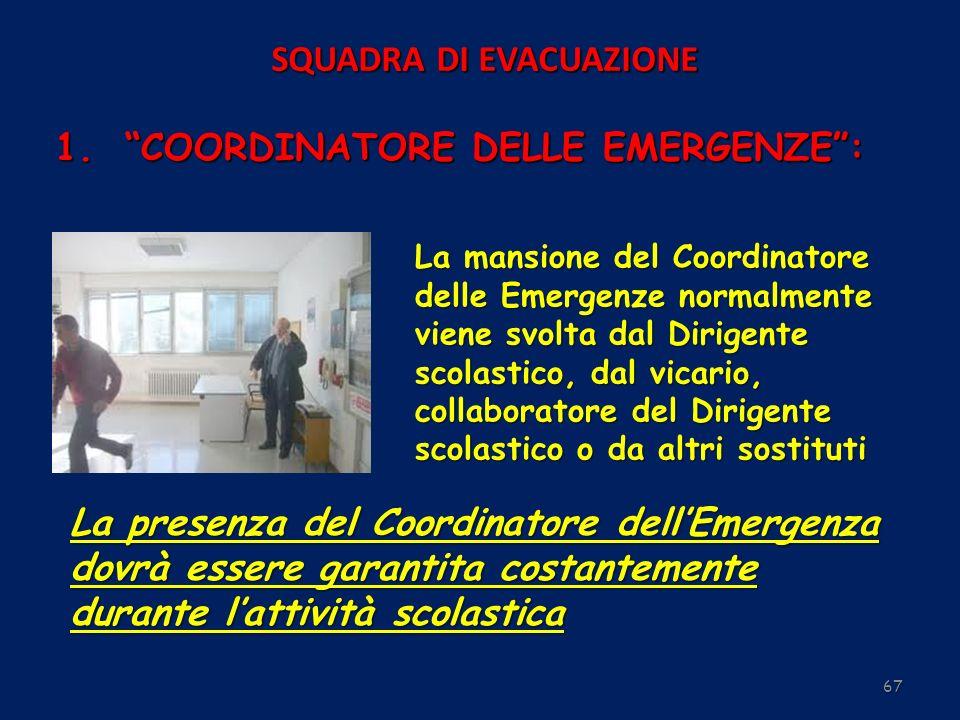 67 SQUADRA DI EVACUAZIONE La mansione del Coordinatore delle Emergenze normalmente viene svolta dal Dirigente scolastico, dal vicario, collaboratore d