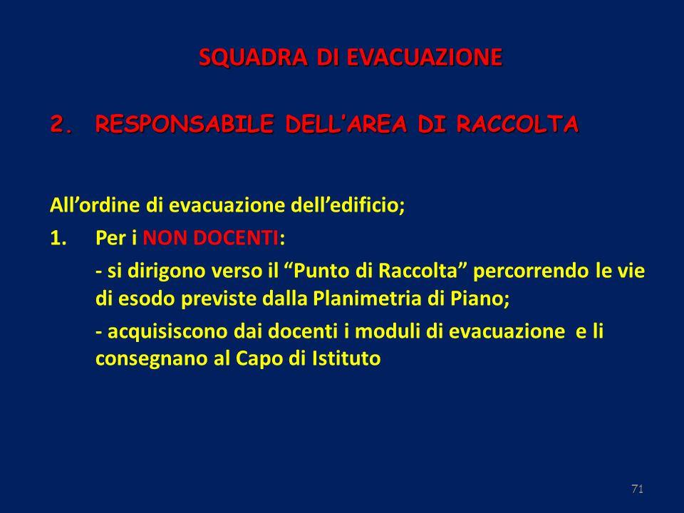 71 Allordine di evacuazione delledificio; 1.Per i NON DOCENTI: - si dirigono verso il Punto di Raccolta percorrendo le vie di esodo previste dalla Pla