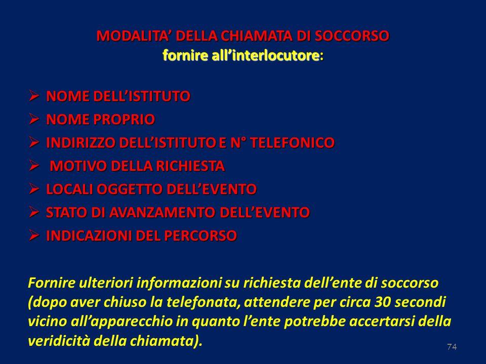 74 MODALITA DELLA CHIAMATA DI SOCCORSO fornire allinterlocutore: NOME DELLISTITUTO NOME DELLISTITUTO NOME PROPRIO NOME PROPRIO INDIRIZZO DELLISTITUTO